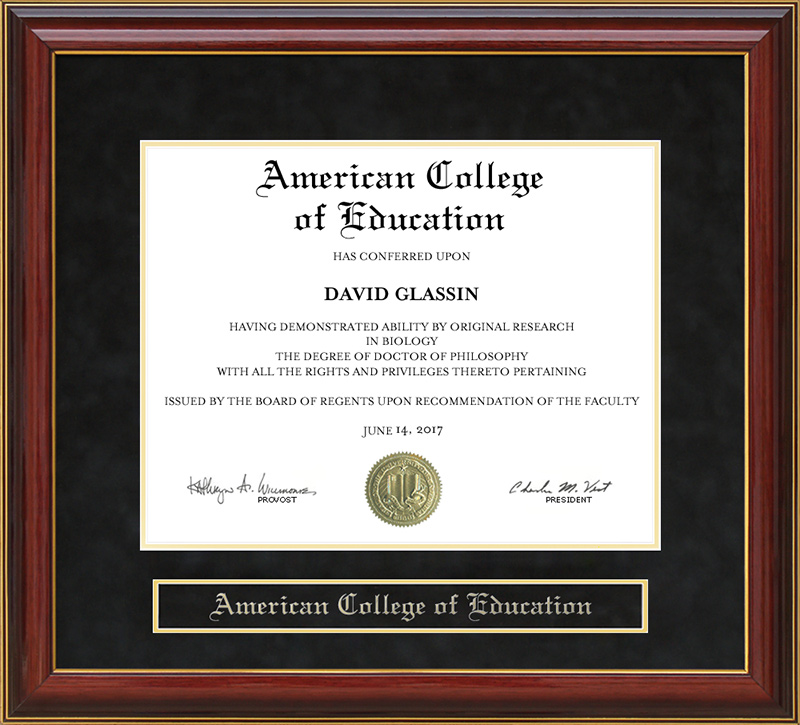 American College Of Education Ace Mahogany Diploma Frame