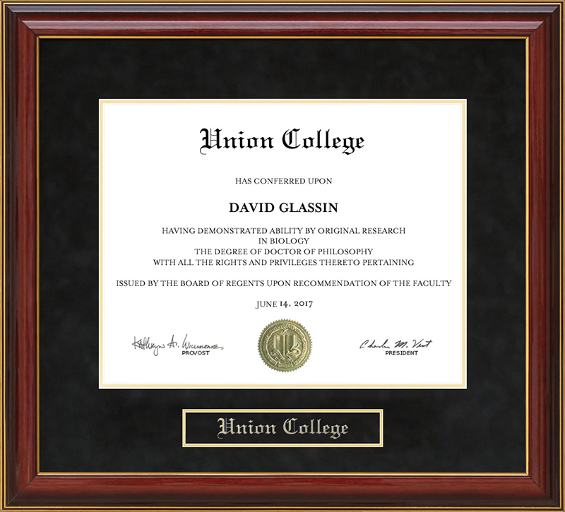Union College Mahogany Diploma Frame