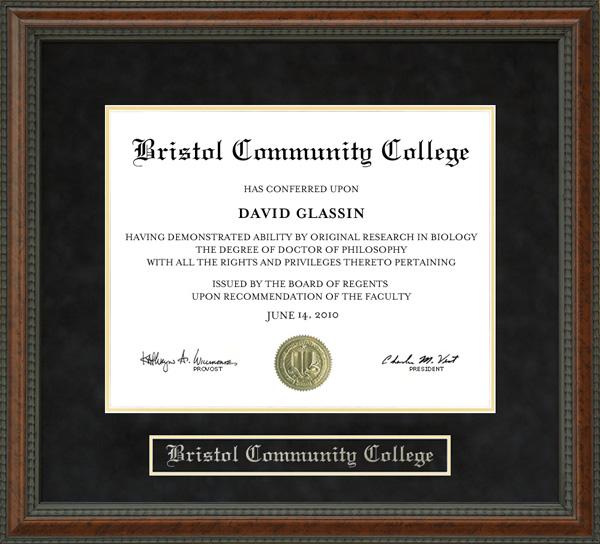 Bristol Community College Diploma Frame Wordyisms