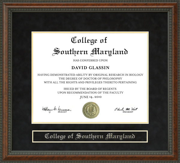 College Of Southern Maryland Csm Diploma Frame Wordyisms