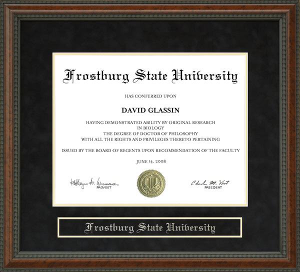 frostburg state university fsu diploma frame