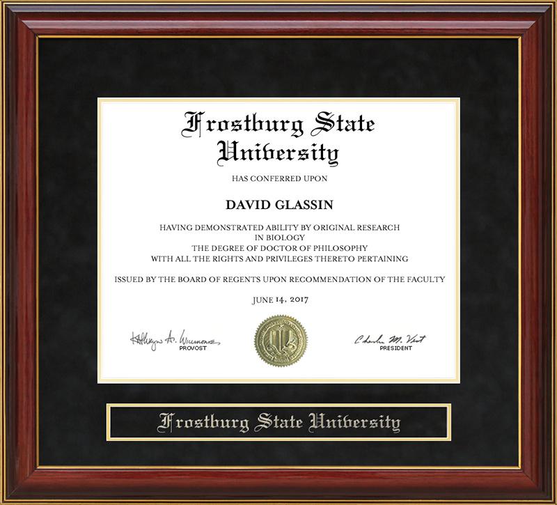 frostburg state university fsu mahogany diploma frame