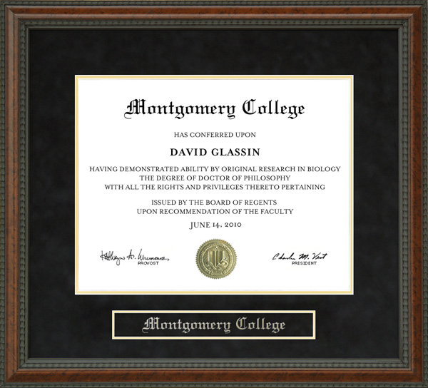 Montgomery College Diploma Frame Wordyisms