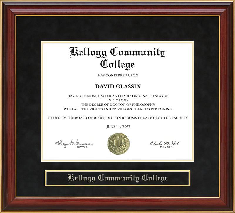Kellogg Community College Mahogany Diploma Frame Wordyisms