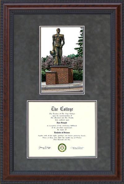 Michigan State Document Frame With Spartan Statue