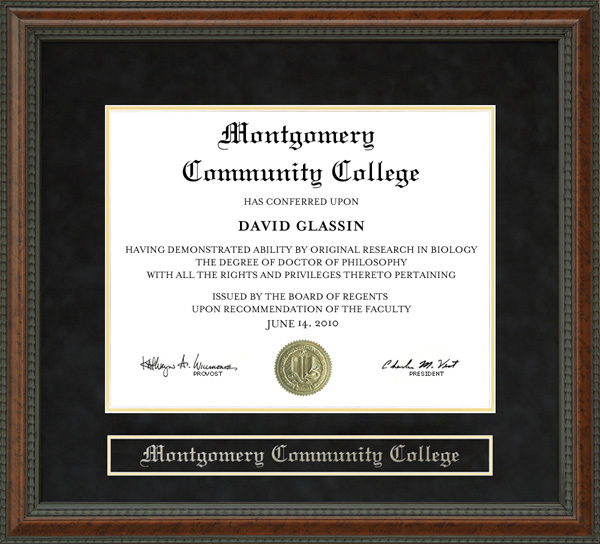 Montgomery Community College Diploma Frame Wordyisms