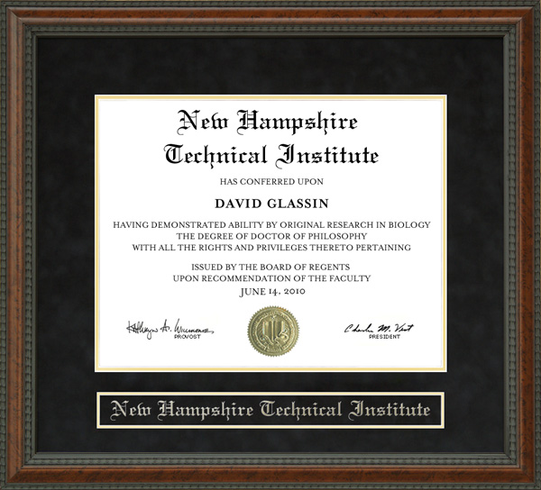 New Hampshire Technical Institute Nhti Diploma Frame Wordyisms