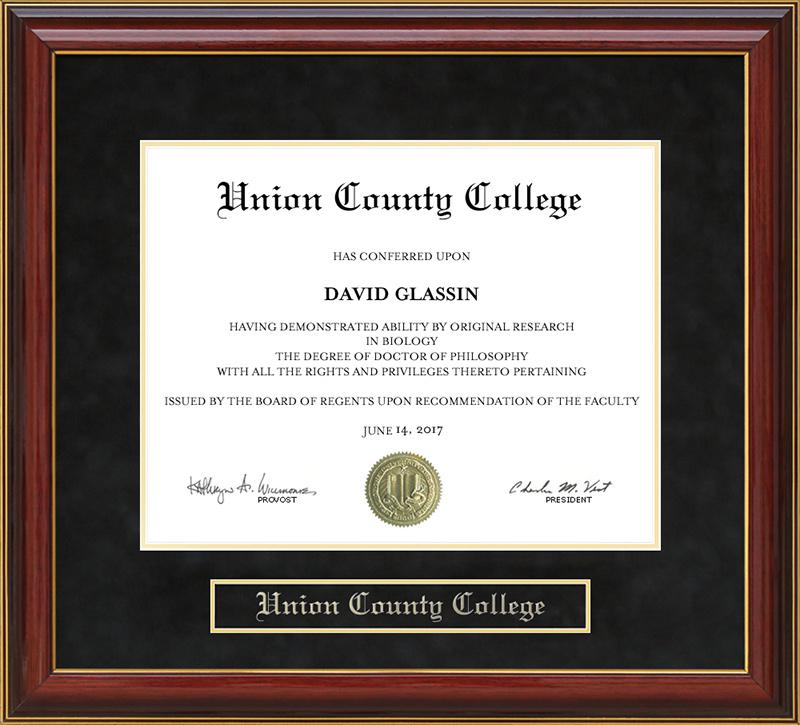 Union County College (UCC) Mahogany Diploma Frame: Wordyisms