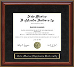 New Mexico Highlands University (NMHU) Mahogany Diploma Frame