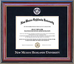 New Mexico Highlands University Diploma Frame with Embossed Suede Mat