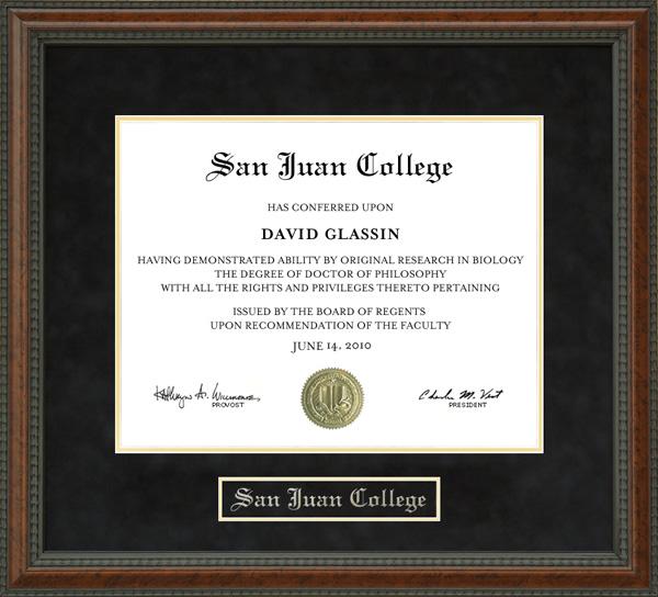 San Juan College Diploma Frame Wordyisms