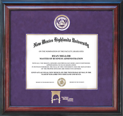 NMHU Diploma Frame with School Logo
