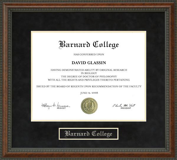 Barnard College Diploma Frame Wordyisms
