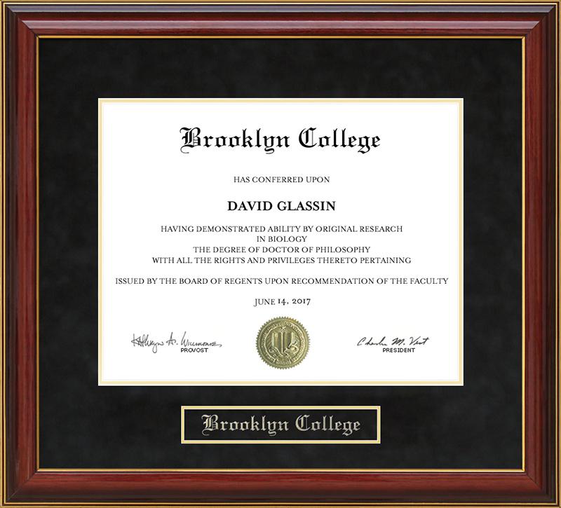 Brooklyn College Mahogany Diploma Frame: Wordyisms