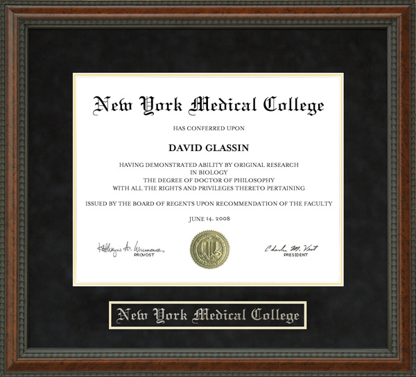 new york medical college nymc diploma frame