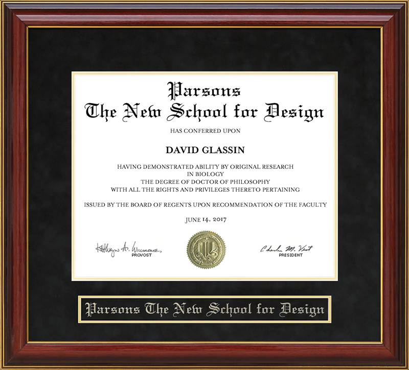 Parsons The New School For Design Mahogany Diploma Frame