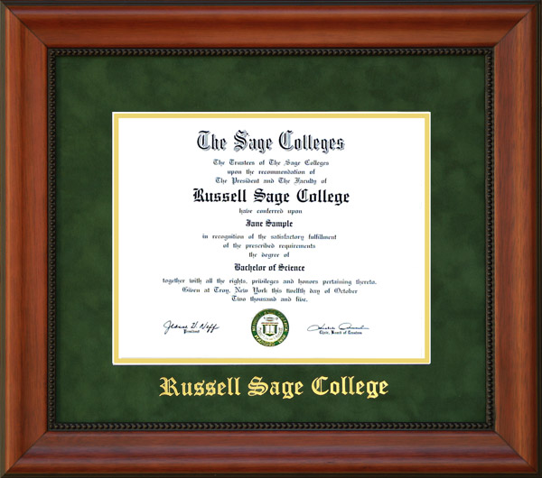 Russell Sage College Diploma Frame in Green Suede: Wordyisms
