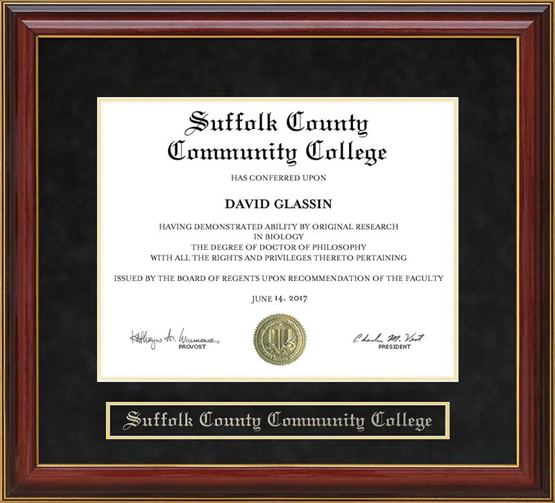 Suffolk County Community College Mahogany Diploma Frame