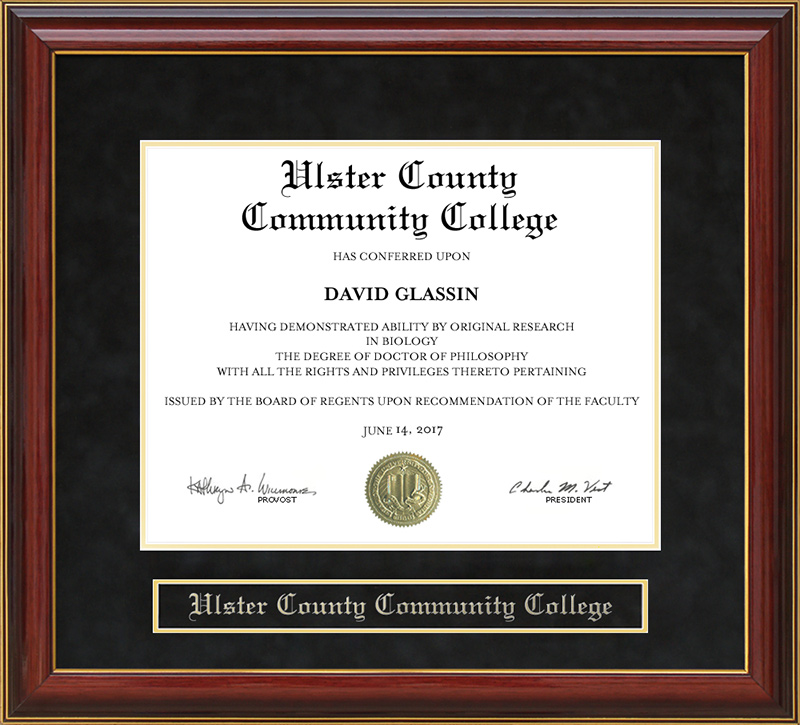Ulster County Community College Mahogany Diploma Frame: Wordyisms