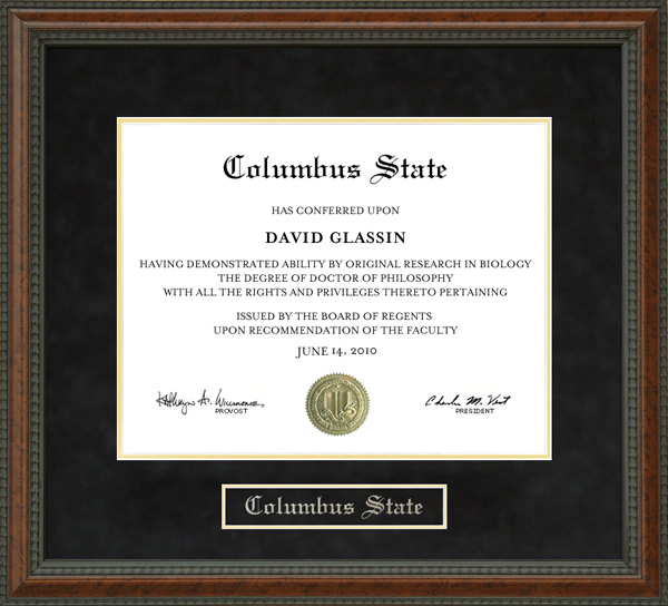 Columbus State Diploma Frame Wordyisms