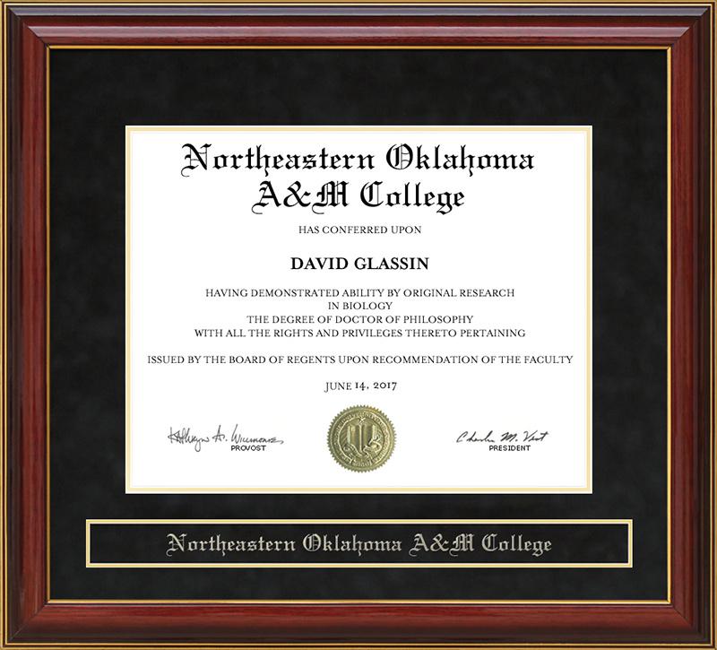 Northeastern Oklahoma A&M College (NEO) Mahogany Diploma