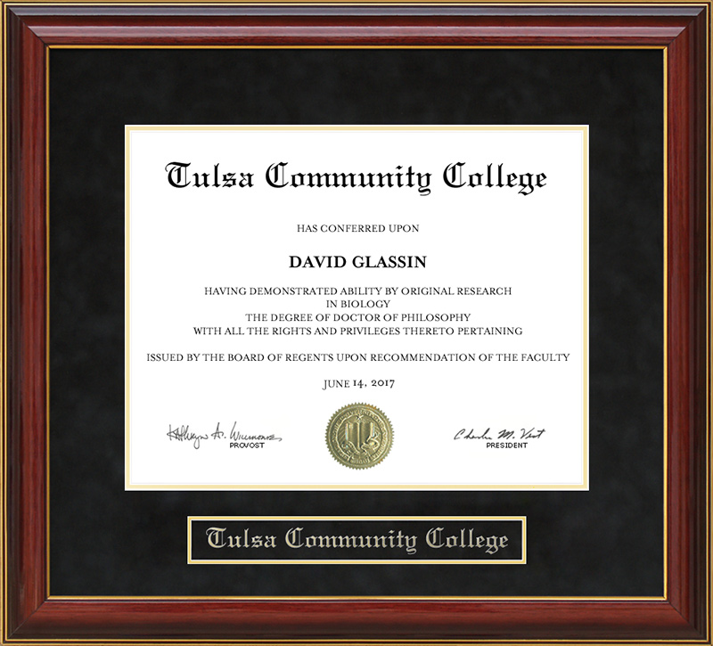 Tulsa Community College (TCC) Mahogany Diploma Frame: Wordyisms