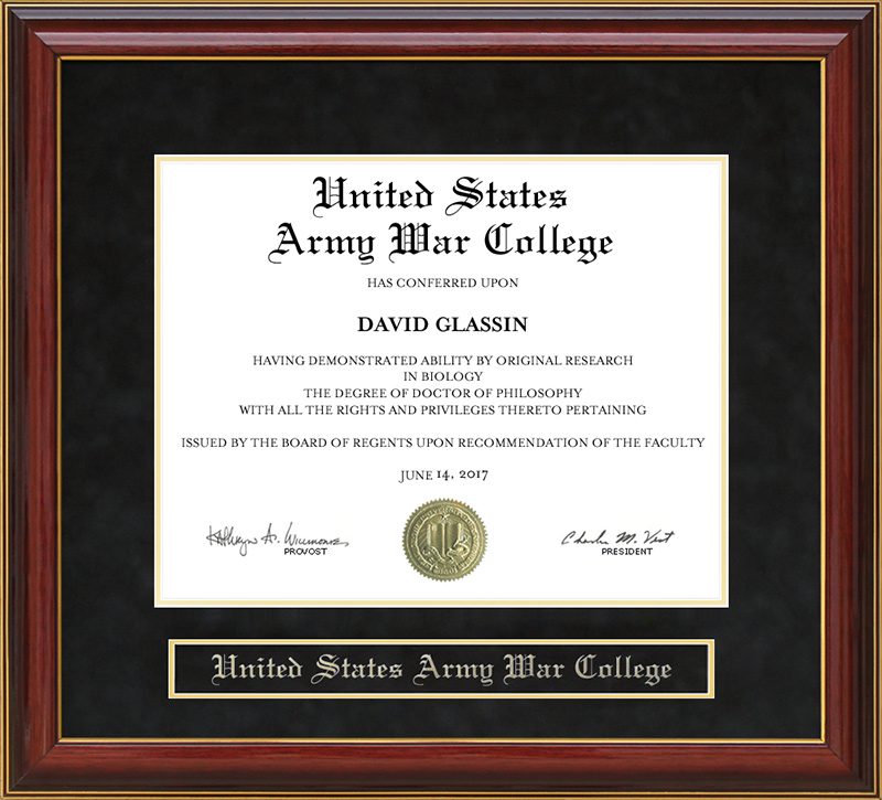 united states army war college usawc mahogany diploma frame  united states army war college usawc mahogany diploma frame