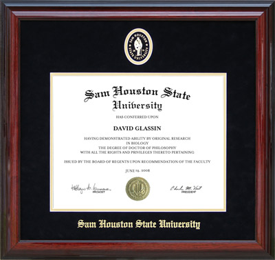 Sam Houston Cherry Diploma Frame with Embossed Suede Mat