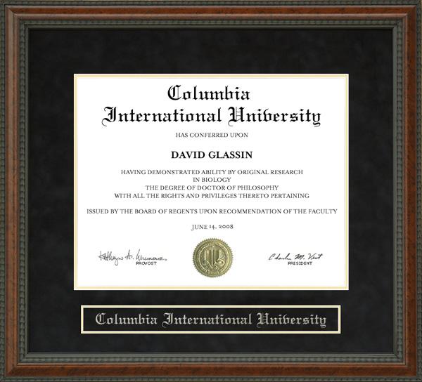 Columbia International University Ciu Diploma Frame