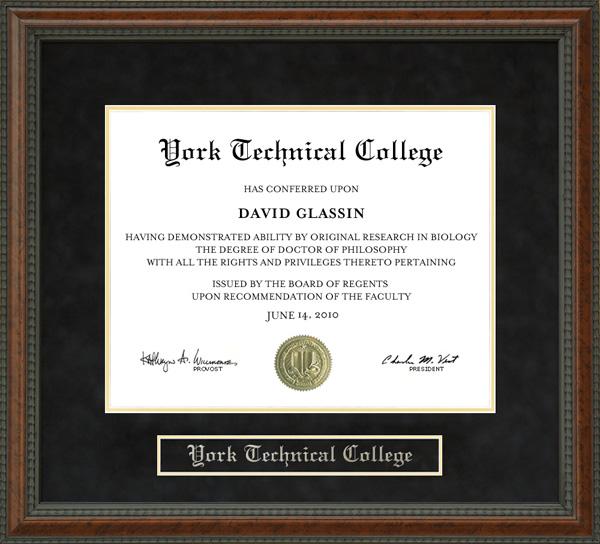 York Technical College York Tech Diploma Frame Wordyisms