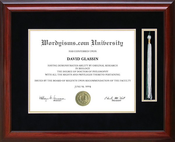 Tassel Diploma Frame in Mahogany: Wordyisms