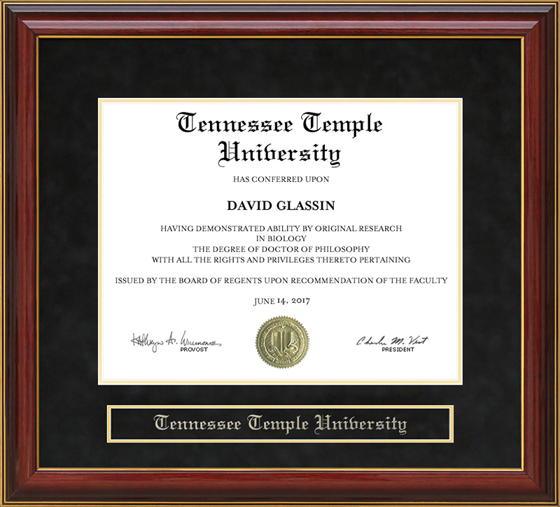 Tennessee Temple University Mahogany Diploma Frame Wordyisms