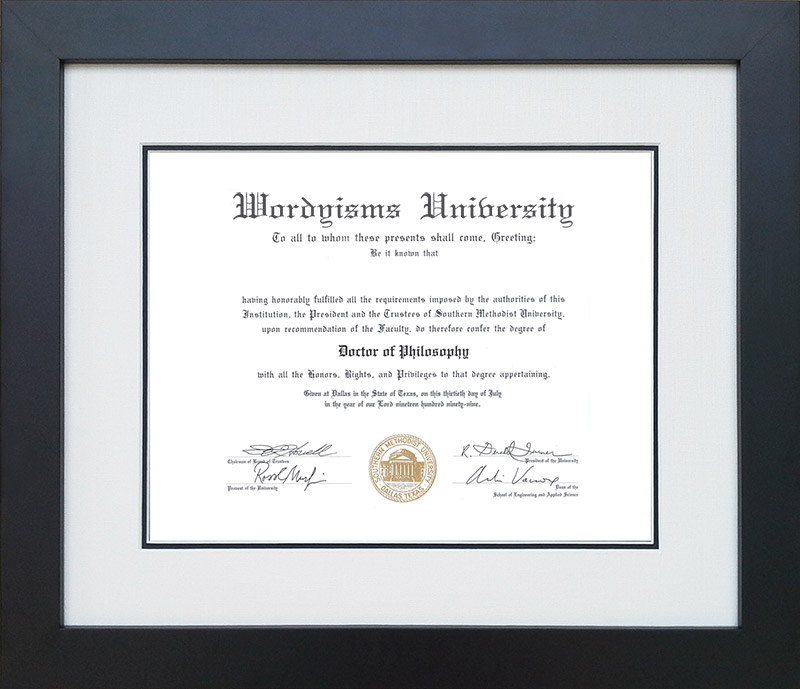 Tribeca Executive Diploma Frame with Genuine Linen Matting: Wordyisms