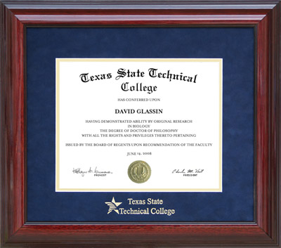 Tstc Classic Diploma Frame With Embossed Suede Mat Wordyisms