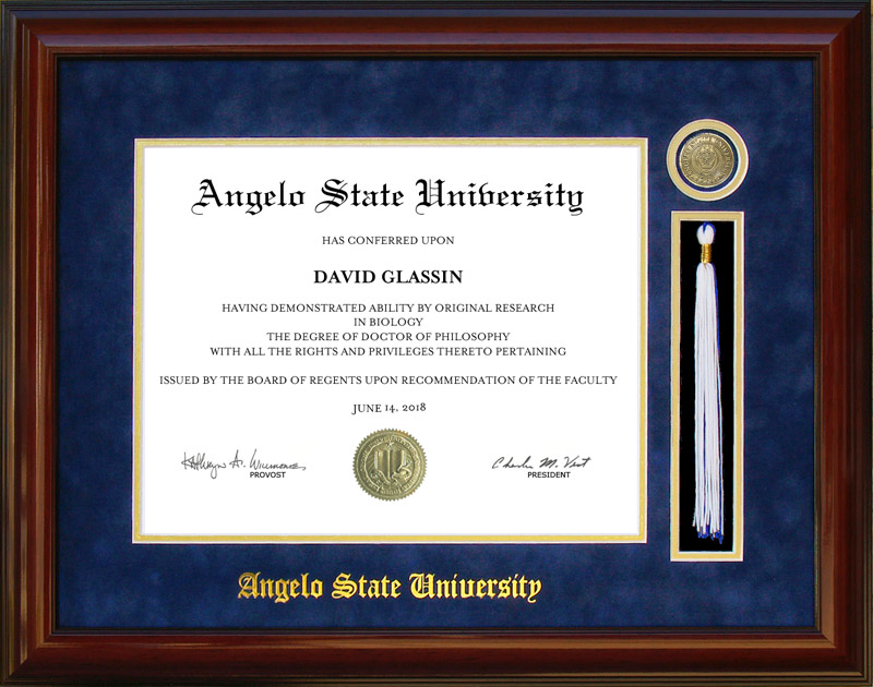 Angelo State University Tassel Diploma Frame: Wordyisms