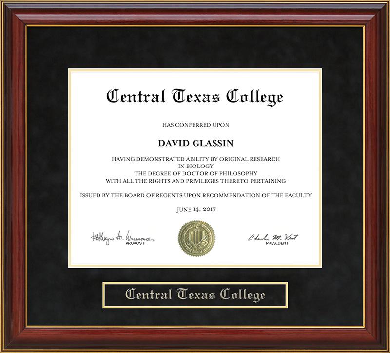Central Texas College Mahogany Diploma Frame: Wordyisms