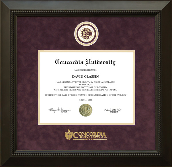 Concordia University Texas Designer Diploma Frame Wordyisms