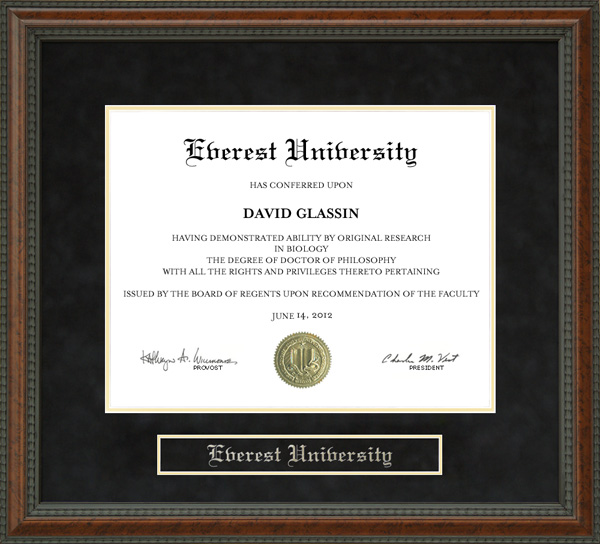 Everest University Diploma Frame: Wordyisms