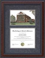 Diploma Frame with Hardin-Simmons University (HSU) Campus Lithograph