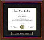 Lone Star College Mahogany Diploma Frame