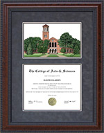 Diploma Frame with Midwestern State University (MSU) Campus Lithograph