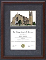 Diploma Frame with Licensed McMurry University Campus Lithograph