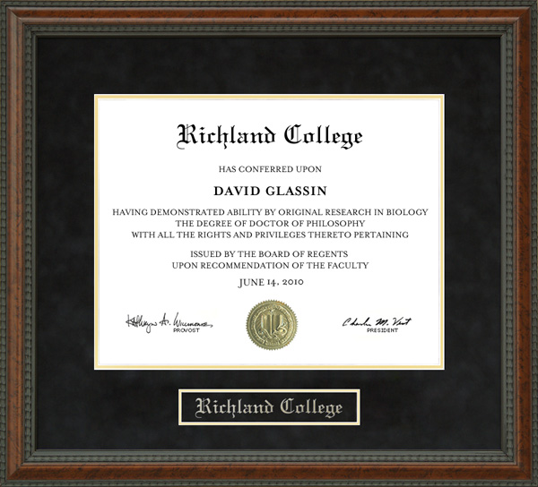 Richland College Diploma Frame Wordyisms