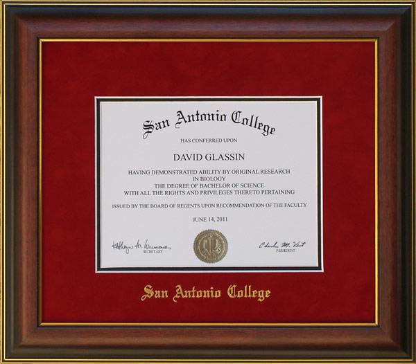 san antonio college diploma frame