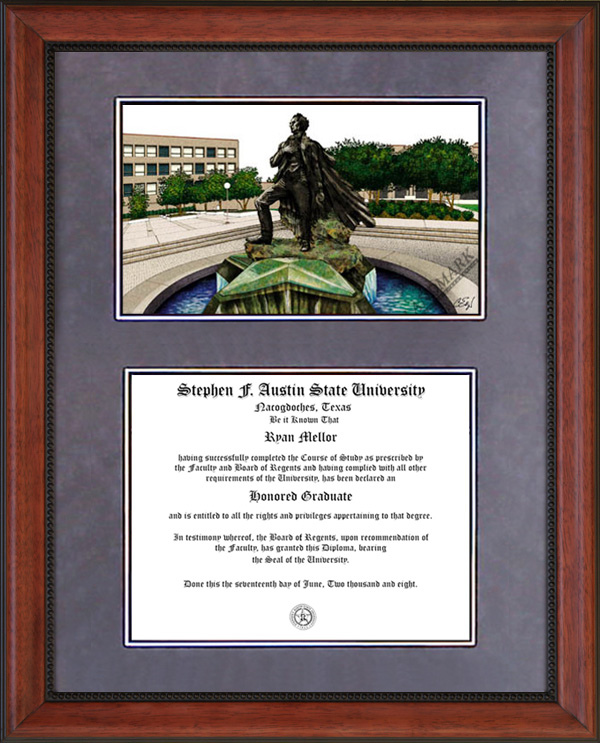 sfa lithograph diploma frame with cherry ascot frame - Ecu Diploma Frame