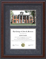 Sam Houston State University (SHSU) Diploma Frame with Campus Lithograph