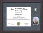 SHSU Diploma Frame with Gray Suede Mat, Gold Embossing, Old Main