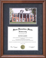 SHSU Diploma Frame with Campus Lithograph