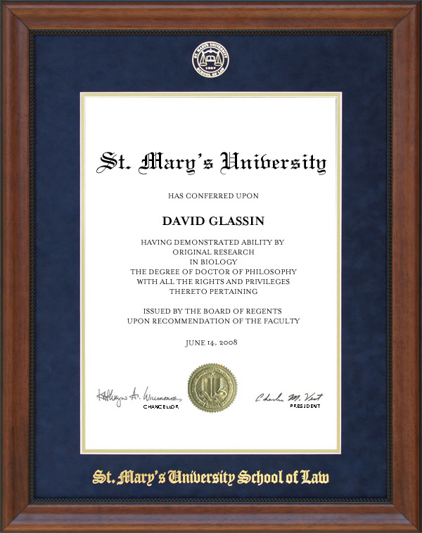 St Mary'S Law School >> St Mary S Law School Diploma Frame With Blue Suede Mat