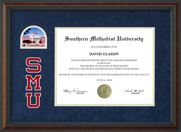 Smu Diploma Frame With Blue Suede Mat Logo And Picture